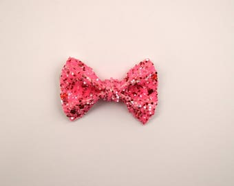 Strawberry Glitter TINY Alligator Clip Little Bow for Newborn Baby Child Little Girl Photo Prop Adorable Photo Pink Red Sparkle Glitter Bow