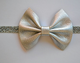 Silver Metallic Leather Headband for Newborn Baby Child Little Girl Adult Photo Prop Adorable Holiday Beautiful Bow