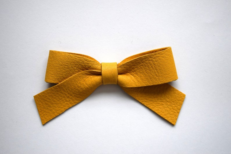1d9257d9041 School Girl Mustard Leather Bow Clip Adorable Photo Prop for