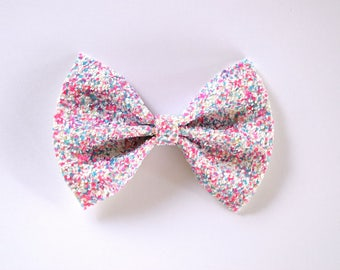 Confetti Glitter Bow Adorable Photo Prop Pictures Easter Clip Blue Pink White Headband for Newborn Baby Little Girl Child Adult