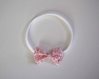 Crushed Pink Ice TINY Bow Headband ONE SIZE fits All Adorable Photo Prop for Newborn Baby Little Girl Child Adult Love Pink Easter Headwrap