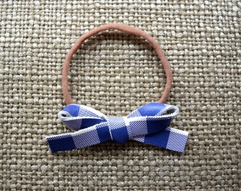 Purple/White Check LARGE Leather Bow One Size Fit All Elastic Adorable Photo Prop for Newborn Baby Little Girl Child Adult Summer Headwrap