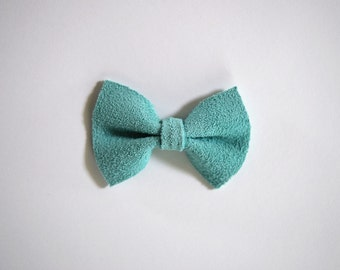 Minty Suede Aqua Blue TINY Bow for Newborn Baby Child Little Girl Photo Prop Adorable Spring Summer Pictures Clip