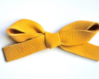OVERSIZED Mustard Leather Bow Clip Adorable Photo Prop for Newborn Baby Little Girl Child Adult Summer Headwrap Pretty Bow