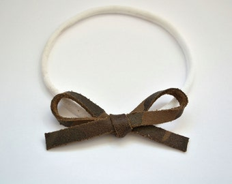 Camo LARGE Leather Bow One Size Fits All Headband Adorable Photo Prop for Newborn Baby Little Girl Child Adult Headwrap