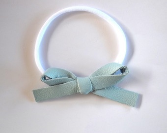 NEW Sky Blue LARGE Leather Bow One Size Fits All Elastic Adorable Photo Prop for Newborn Baby Little Girl Child Adult Headwrap Pretty Bow