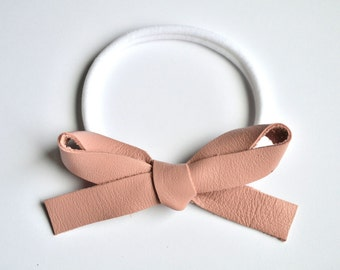 OVERSIZED Ballet Pink Leather Bow Headband Adorable Photo Prop for Newborn Baby Little Girl Child Adult Summer Headwrap Pretty Bow