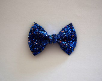 Midnight Sky TINY Glitter Bow Clip Photo Prop for Girls Adorable Summer 4th of July Spring Clip for Little Girls Babies Toddlers Adults Bow