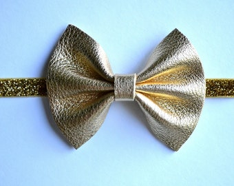 Gold Leather Baby Headband for Newborn Child Little Girl Adult Gold Fall Adorable Photo Prop Beautiful Glitter Sparkly Bow