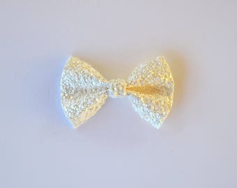 White Matte Glitter TINY Alligator Clip Little Bow for Newborn Baby Child Little Girl Adult Photo Prop Adorable Photo Baptism Blessing Clip