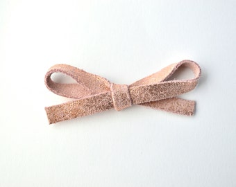 Rose Gold Metallic LARGE Leather Bow Clip Photo Prop for Newborn Baby Little Girl Child Adult Summer Headwrap Pretty Bow