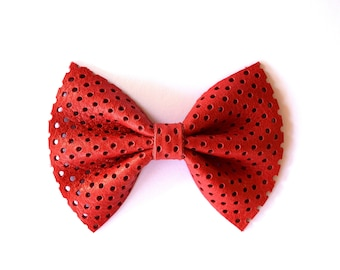 Red Honeycomb Leather Headband Bow for Newborn Baby Child Little Girl Adult Red 4th of July Adorable Dot Leather Photo Prop Bow Clip
