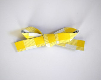 Sunshine Plaid LARGE Leather Bow Clip Adorable Photo Prop for Newborn Baby Little Girl Child Adult Gold Yellow Summer Headwrap Pretty Bow