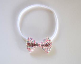 Confetti Glitter TINY Bow Headband ONE SIZE fits All Adorable Photo Prop for Newborn Baby Little Girl Child Adult Blue Pink Easter Headwrap