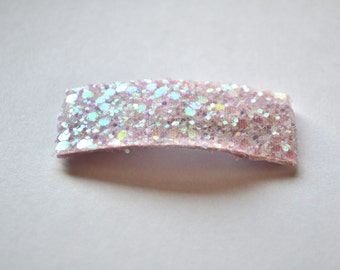 Pastel Pink Glitter SNAP Clip Bow for Baby Child Adult Valentines Day Holiday Spring Summer Adorable Photo Prop Darling Shiny Clip
