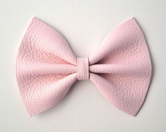 BLUSH Pink Leather Bow Beautiful Adorable Clip for Newborn Baby Little Girl Child Adult Photo Prop Pictures