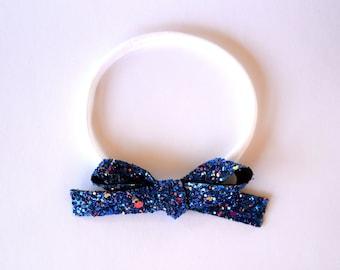 Midnight Sky Glitter Bow Headband OSFA nylon elastic headband Adorable for Newborn Baby Little Girl Child Adult 4th of July Headband Bow