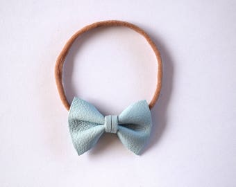 NEW Sky Blue Leather Bow Headband ONE SIZE fits All Adorable Photo Prop for Newborn Baby Little Girl Child Adult Summer Headwrap Pretty Bow