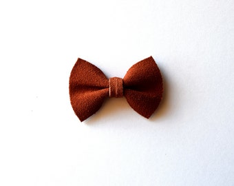 Auburn Suede Leather TINY Leather Bow Clip Photo Prop for Girls Adorable Holiday Spring Clip for Little Girls Babies Toddlers Adults