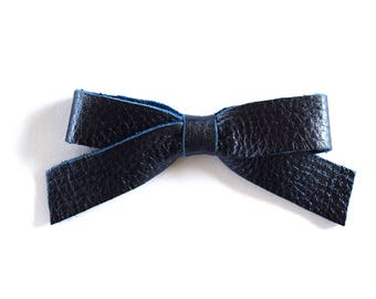 School Girl Navy Metallic Leather Bow Clip Adorable Photo Prop for Newborn Baby Little Girl Child Summer 4th of July Blue Pretty Bow