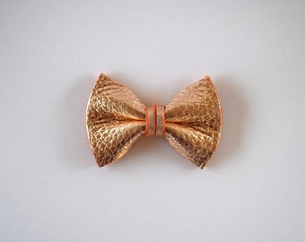 Blush Rose Gold Metallic Leather Bow TINY Clip Photo Prop for Girls Adorable Summer Holiday Clip for Little Girls Babies Toddlers Adults