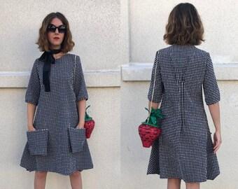Gingham Black / White Vintage Dress, Short Sleeve A-line Dress w/ Big Pockets