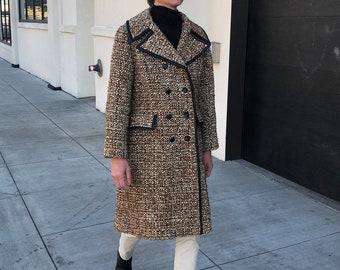 60s Wool Bouclé Coat, Vintage Women's Double Breasted Coat
