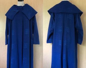 50s Royal Blue Coat, Vintage Shawl Collar Wool Cape Coat