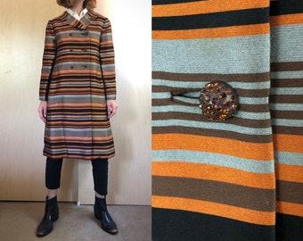 Striped Vintage Coat, 50s 60s Women's Coat