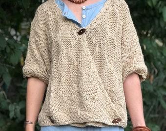 Knit Sweater, Vintage Beige Oversize Cotton Sweater