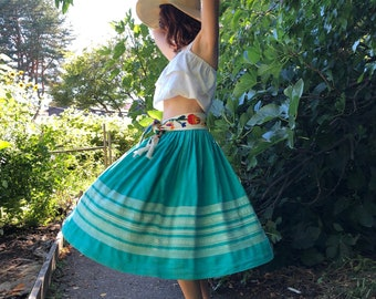 50s Mexican Circle Skirt, Vintage Hand Woven Oaxacan Turquoise Cotton Skirt