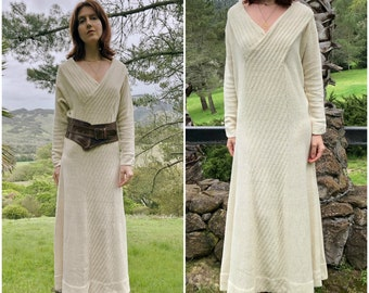 Cream Sweater Dress, Long Sleeve Knit Vintage Maxi Sweaterdress