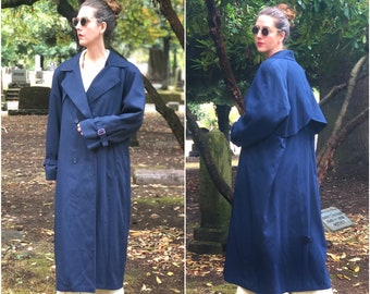 London Fog Trench Coat, Navy Vintage Maxi Length Coat w/ Removable Wool Lining
