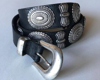 Vintage Concho Belt, Black Leather Southwestern Billy Belt 38