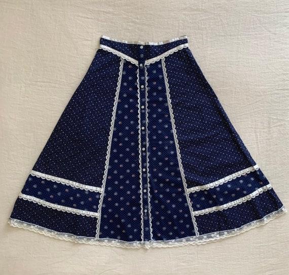 Gunne Sax Skirt, Vintage 70s Navy Floral Prairie … - image 2
