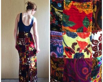Velvet Patchwork Maxi Skirt, Vintage 60s Deadstock XXS