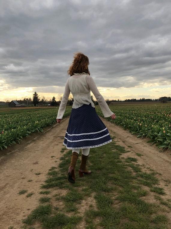 Gunne Sax Skirt, Vintage 70s Navy Floral Prairie … - image 7