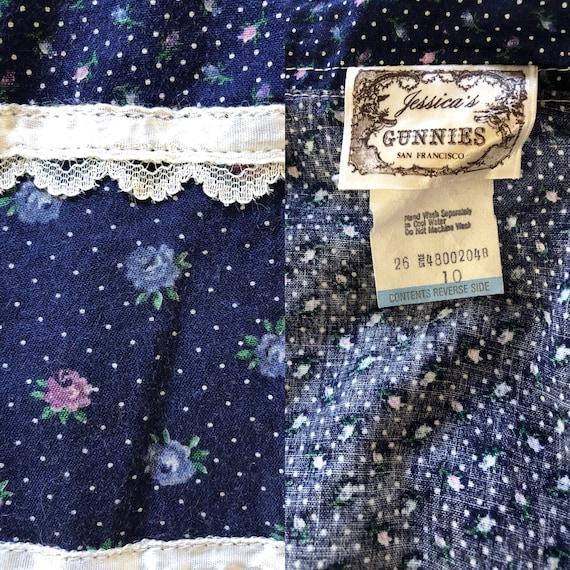 Gunne Sax Skirt, Vintage 70s Navy Floral Prairie … - image 10