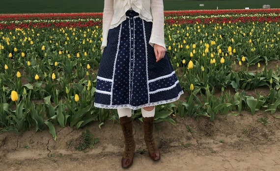 Gunne Sax Skirt, Vintage 70s Navy Floral Prairie … - image 1