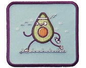 Randy Otter quot Avacardio quot Funny Avacado Running and Exercising - Iron on Embroidered Patch Applique HS P-RO-0176