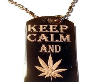Keep and Smoke on Marijana Weed Pot Leaf Ganja Logo Symbols Metal Ring Key Chain