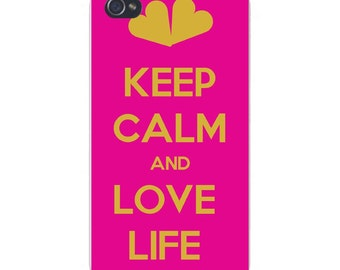 "Apple iPhone Custom Case White Plastic Snap on - ""Keep Calm and Love Life"" w/ Hearts 7419"