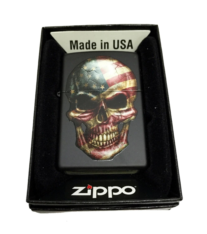 Zippo Custom Lighter American Flag On Skull Regular Black Etsy Matte 218 50