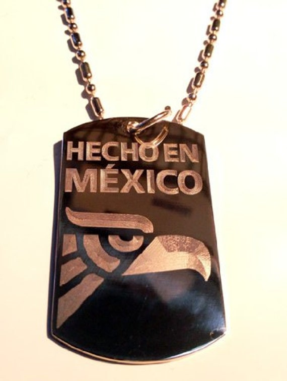 Hecho In Mexico Eagle Logo Symbol Military Dog Tag Luggage Etsy