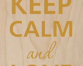 Keep Calm and Love Me Cupids w/ Heart - Plywood Wood Print Poster Wall Art WP - DF - 0333