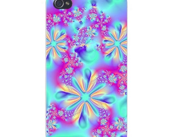Apple iPhone Custom Case White Plastic Snap on - Snowflake Crystals Swirling Blue & White 4774