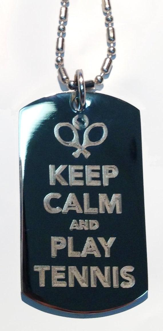 Metal Ring Key Chain Keychain Keep Calm /& Play Tennis w// Racquet