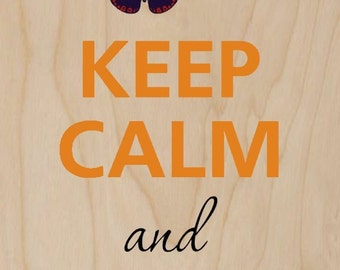 Keep Calm and Love Butterflies - Plywood Wood Print Poster Wall Art WP - DF - BUTTERFLIES 0203