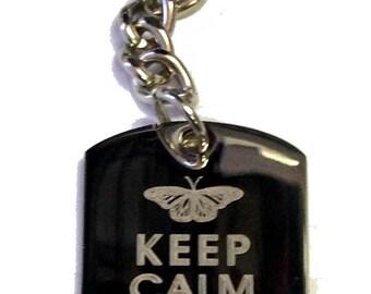 Keep Calm and Love Butterflies - Metal Ring Key Chain LOVE BUTTERFLIES