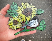 Chickadee wIth Sunflower glass Mosaic